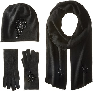 La Fiorentina Women's Jeweled Cashmere Scarf Hat and Glove Set