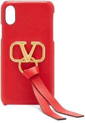 Valentino V Ring Leather Iphone X Case - Womens - Red