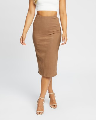 Jorge - Women's Brown Pencil skirts - Selina Midi Skirt - Size One Size, 12 at The Iconic