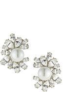 Kenneth Jay Lane Rhinestone Cluster Clip-On Earrings w/ Faux-Pearl Beads