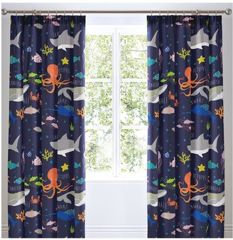 Bedlam Sea Life Glow In The Dark Lined Pleated Curtains