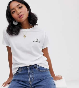 Asos DESIGN Petite t-shirt with arrow heart motif-White