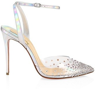 Christian Louboutin SpikaQueen Crystal-Embellished PVC & Iridescent Leather Ankle-Strap Pumps