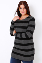 Yours Clothing Black & Grey Stripe Longline Jumper With Silver Shoulder Zips