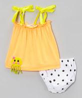 Octopus Orange Tie-Strap Top & Diaper Cover - Infant & Toddler