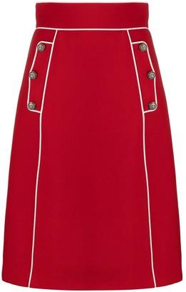 Dolce & Gabbana Contrast-Trim High Waist Skirt