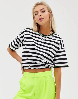 Asos Design DESIGN cropped t-shirt in stripe with neon toggle and contrast stitching-Black