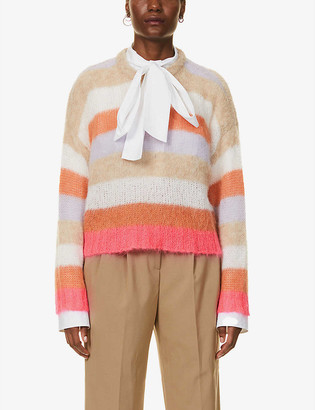 RED Valentino Striped dropped-shoulder knitted jumper