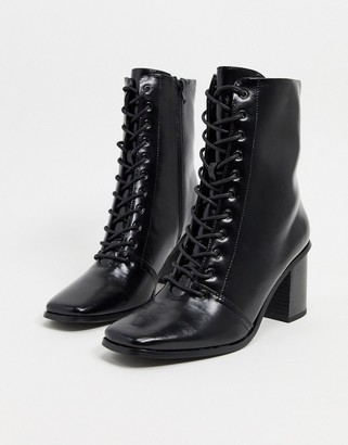 ASOS DESIGN Rylee square toe lace up boots in black