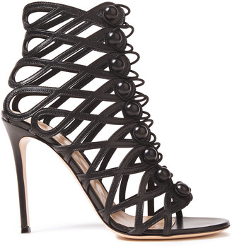 Gianvito Rossi Button-detailed Cutout Leather Sandals