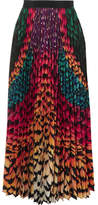 Mary Katrantzou Satin-trimmed Pleated Printed Chiffon Skirt - Green