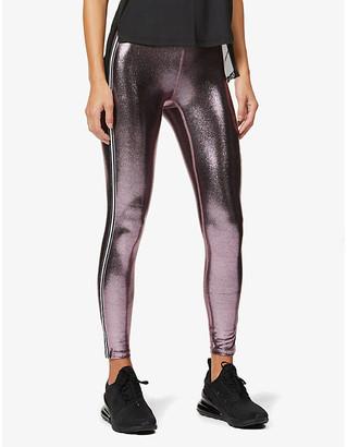 Heroine Sport Jetset metallic stripe stretch-jersey leggings