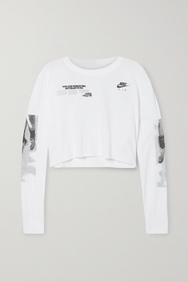 Nike Cropped Printed Cotton-jersey Top - White