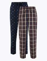 M&S CollectionMarks and Spencer 2 Pack Big & Tall Cotton Pyjama Bottoms