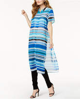 Calvin Klein Striped Side-Vent Button-Front Tunic