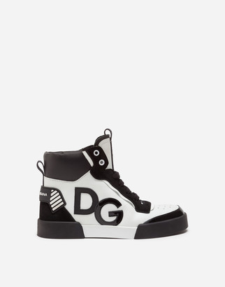 Dolce & Gabbana Mixed-Materials Portofino Light High-Top Sneakers