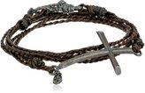 M.Cohen Handmade Designs Silver Cross On Triple Wrap Braided Wax Cord Bracelet