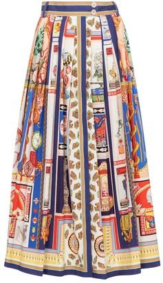 Etro Printed high-rise stretch-cotton maxi skirt