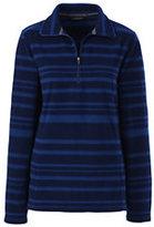 Lands' End Women's Petite Fleece Half-zip Pullover-Black Fairisle
