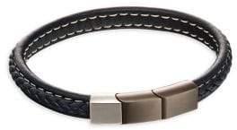 Fred Bennett Stainless Steel & Leather Bracelet