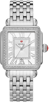 Michele Deco Madison Diamond Watch, Silver/White