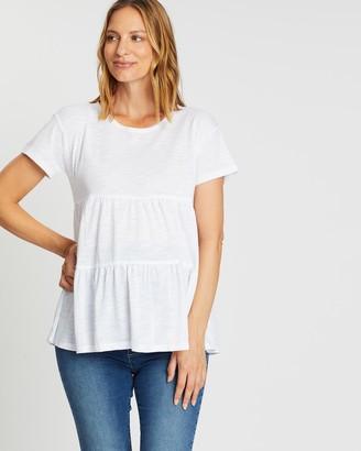 Angel Maternity Maternity 2 Piece Babydoll Short Sleeve Tops
