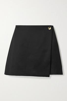 Alice Olivia - Renna Wool-blend Mini Wrap Skirt - Black