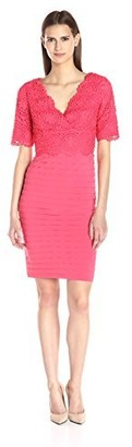 Adrianna Papell Women's Banded and Lace Vneck Sheath