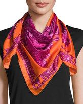 Versace Silk Floral-Print Circle Scarf, Orange/Purple