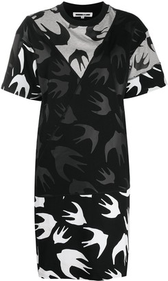 McQ Swallow Swallow Print Layered Dress