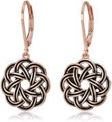 Celtic Amazon Collection 18k Yellow Gold Plated Sterling Silver Knot Leverback Dangle Earrings