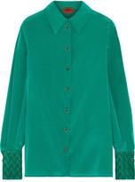 Missoni Metallic Crochet Knit-trimmed Stretch Silk-blend Shirt - Green