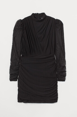 H&M Draped Bodycon Dress - Black