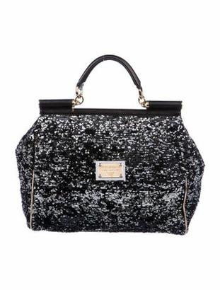 Dolce & Gabbana Large Sequin Sicily Bag Black