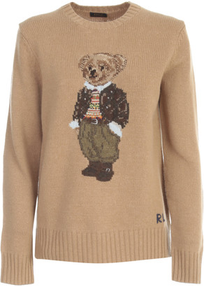 Polo Ralph Lauren Sweater Crew Neck W/teddy And Side Slits