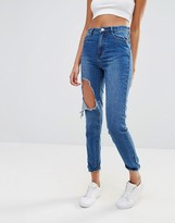 Missguided Riot Mom Busted Knee Jean
