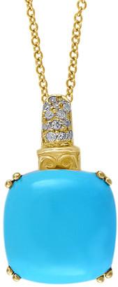 Effy Fine Jewelry 14K 7.24 Ct. Tw. Diamond & Turquoise Pendant Necklace
