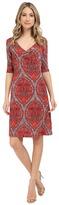 Christin Michaels Tea Length 3/4 Sleeve Wrap Dress