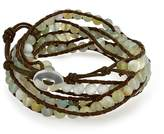 Bling Jewelry Prehnite Gemstone Bead Wristband Leather Wrap Bracelet 36in