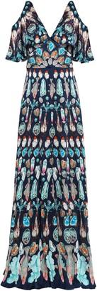 Temperley London Cold-shoulder Printed Silk-satin Maxi Dress