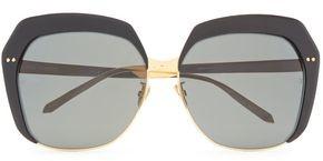 Linda Farrow D-frame Gold-tone And Titanium Sunglasses