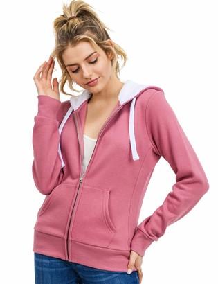 Esstive Women's Ultra Soft Fleece Midweight Casual Fur Hood Solid Zip-Up Hoodie Jacket