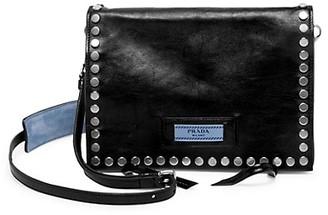 Prada Small Glace Etiquette Studded Leather Shoulder Bag