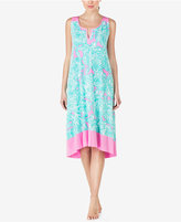 Ellen Tracy Contrast-Trimmed Printed Knit Nightgown