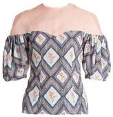 Emilia Wickstead Sibyl contrast-yoke woven top