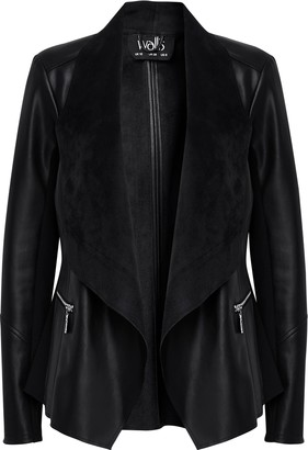 Wallis Black Faux Leather Waterfall Jacket