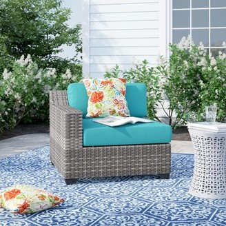 Sol 72 Outdoor Falmouth Right Arm Patio Chair with Cushions Cushion Color: Aruba