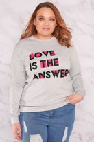 """Yours Clothing Womens Limited Collection """"love Is The Answer"""" Sweat Top With Open Back, Plus Si"""