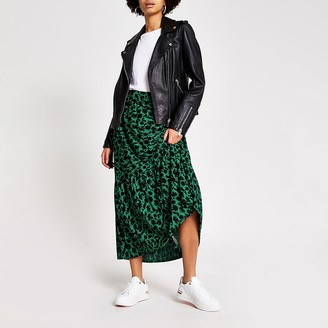River Island Green floral tiered smock maxi skirt