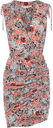 Veronica Beard Soheyla Ruched Floral-print Silk-blend Crepe De Chine Mini Dress